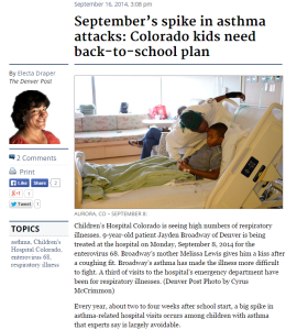 Septembers spike in asthma attacks-Colorado kids need back to school plan